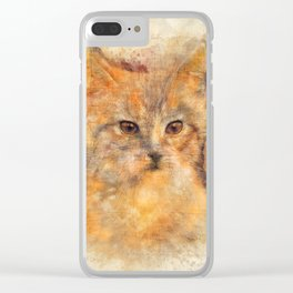 Ginger cat art Clear iPhone Case