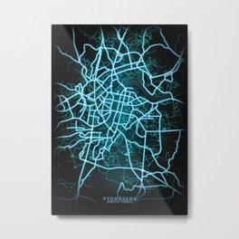 Pyongyang, North Korea, Blue, White, Neon, Glow, City, Map Metal Print