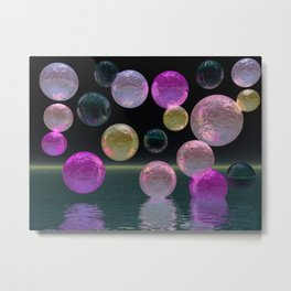 Night Jewels - Abstract Magenta and Black Brilliance Metal Print
