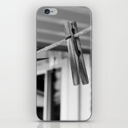 Clothespins on a Line iPhone Skin