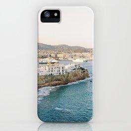 "Travel photography ""Ibiza Dalt Vila"" | Modern wall art Ibiza Spain coast white tones sunset iPhone Case"