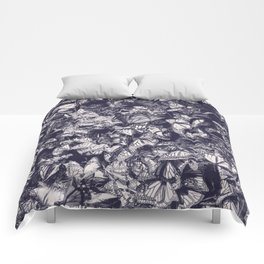 Indigo butterfly photograph duo tone blue and cream Comforters