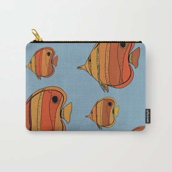Orange Butterfly Fish Carry-All Pouch