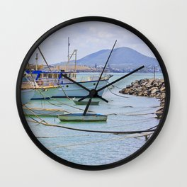 Boats on the river Wall Clock