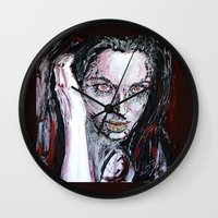 angelina jolie Wall Clocks featuring Angelina Jolie by lisylight