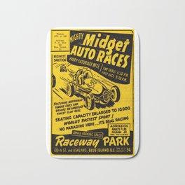 Midget Auto Races, Race poster, vintage poster Bath Mat