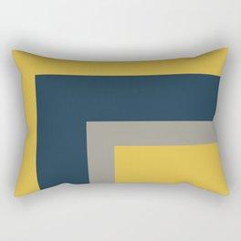 Half Frame 2 Minimalist Pattern in Deep Mustard Yellow, Navy Blue, and Gray Rectangular Pillow