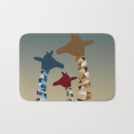 Abstract Colored Giraffe Family Bath Mat