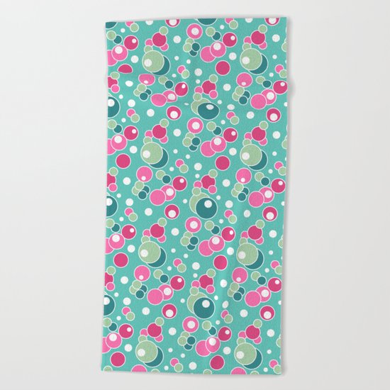 Retro. Multi-colored polka dots . Beach Towel