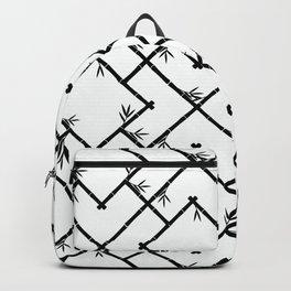 Bamboo Chinoiserie Lattice in White + Black Backpack