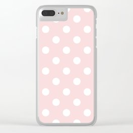Polka Dots - White on Light Pink Clear iPhone Case