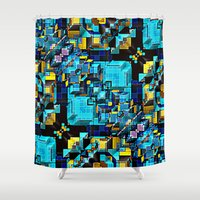 technology Shower Curtains featuring Blue Technology Abstract by Phil Perkins