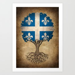 Vintage Tree of Life with Flag of Quebec Art Print