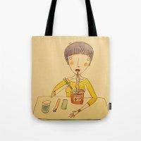 ramen Tote Bags featuring Ramen by Ghila Valabrega