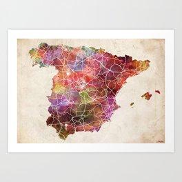 Spain map landscape Art Print