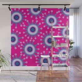 Star Flowers Pink & Purple Spring Summer Floral Pattern Wall Mural