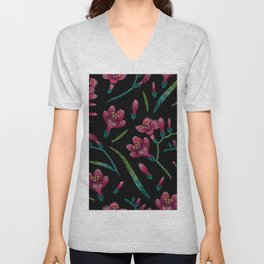 Embroidered Flowers on Black Pattern 07 Unisex V-Neck