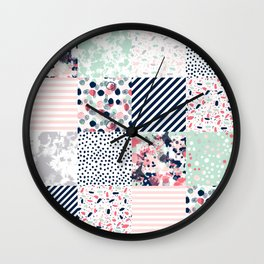 Patchwork quilt cheater quilt pattern gender neutral nursery baby decor Wall Clock