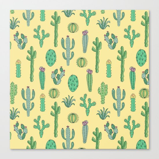 Cactus Pattern Yellow Canvas Print