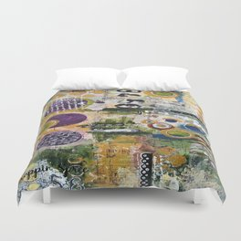 Mixed Media Art. Numbers, Circles & Words. Purpose Art. Deep Plum, Yellow, Greens and Blues Duvet Cover