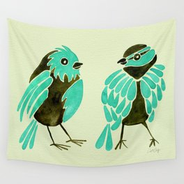 Turquoise Finches Wall Tapestry