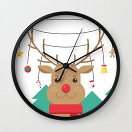 Reindeer Christmas. Wall Clock