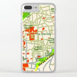 Jerusalem Map , Israel Clear iPhone Case