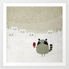 Raccoon and cats Art Print