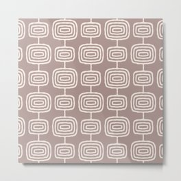 Mid Century Modern Atomic Rings Pattern Beige Metal Print