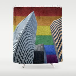 Houston LGBTQ Pride Skyline Shower Curtain