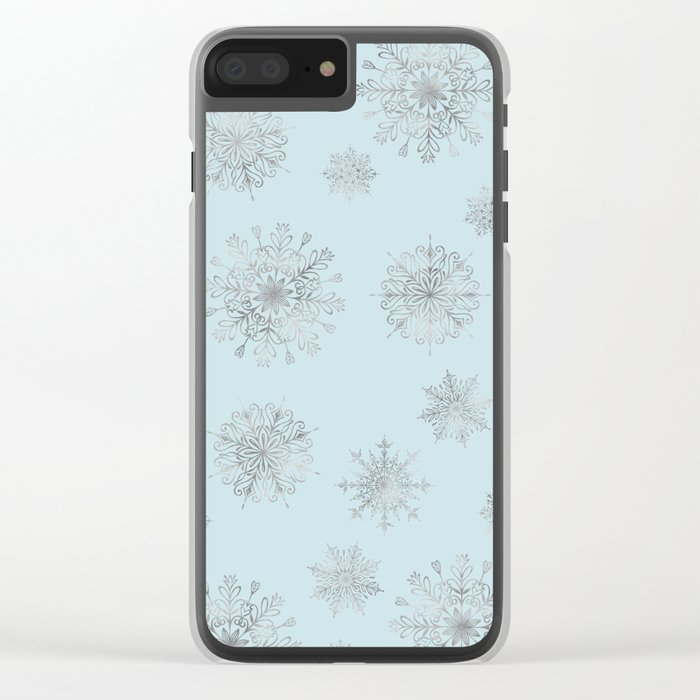 Assorted Silver Snowflakes On Light Blue Background Clear iPhone Case