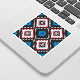 Colorful patchwork mosaic oriental kilim rug with traditional folk geometric ornament. Tribal style Sticker