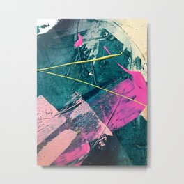 Wild [6]: a vibrant, bold, minimal abstract piece in teal, pink, and green Metal Print