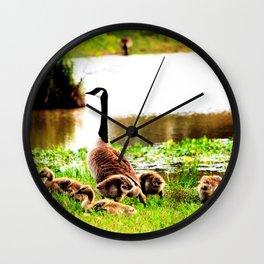 Canada Goose and Goslings Wall Clock