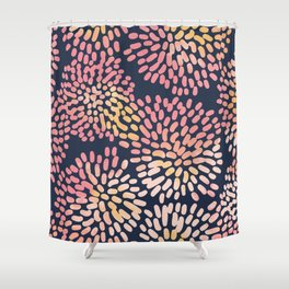 Navy and Pink Watercolor Firework Flower Shower Curtain