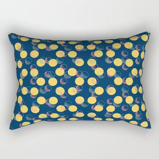 Yellow Polka Dots And Scribbles Rectangular Pillow