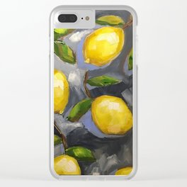 Lemons on Blue iphone cover Clear iPhone Case