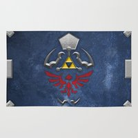 shield Area & Throw Rugs featuring Hylian Shield by enthousiasme