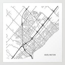 Burlington Map, Canada - Black and White Art Print