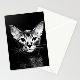 Abyssinian cat portrait black and white Stationery Cards