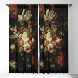 Jan van Huysum - A vase of flowers Blackout Curtain
