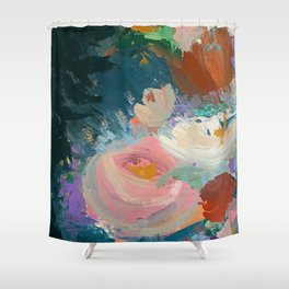 Sweet Nothings: a colorful floral abstract in pinks, reds, blues, and white Shower Curtain