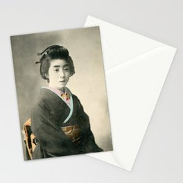 Hand Tinted Vintage Japanese Postcard--Young Girl in Kimono Stationery Cards