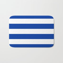 Dark Princess Blue and White Wide Horizontal Cabana Tent Stripe Bath Mat