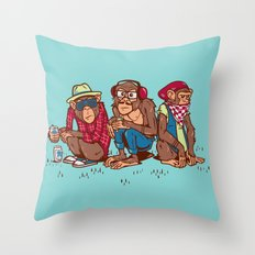 Three Wise Hipster Monkeys Throw Pillow