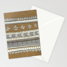 gold and silver pattern with stars Stationery Cards