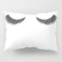 Lashes Black Glitter Mascara Pillow Sham