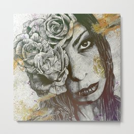 Of Suffering: Autumn (dark lady portrait with roses) Metal Print