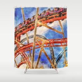 Fun on the roller coaster, close up Shower Curtain