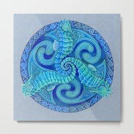 Seahorse Triskele Celtic Mandala Metal Print